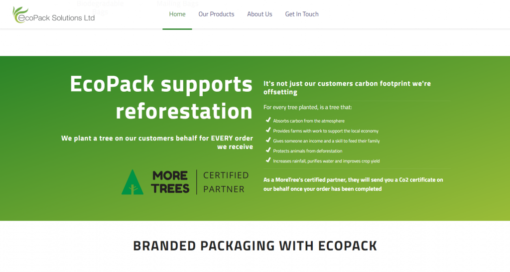 EcoPack Solutions home page