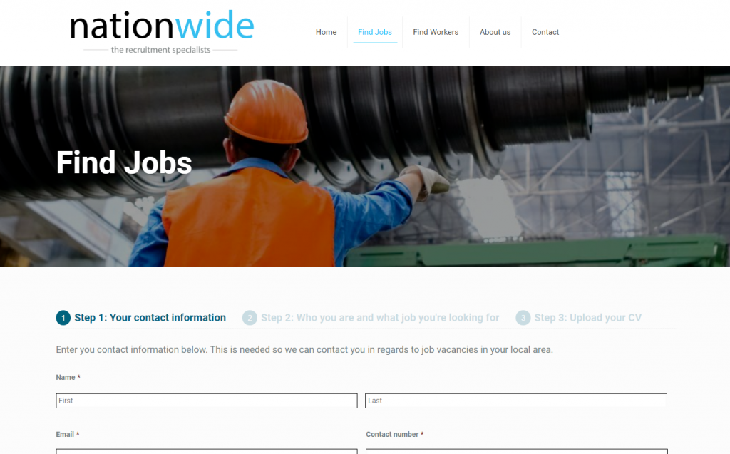 Nationwide Trades and Labour job search page