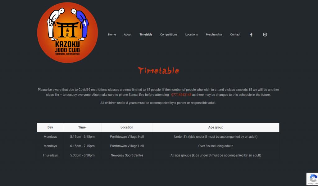 Kazoku Judo website Timetable page