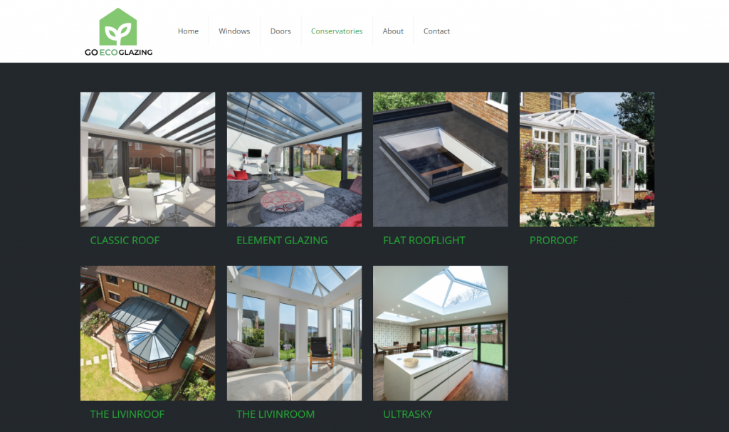 Go eco Glazing products page screenshot