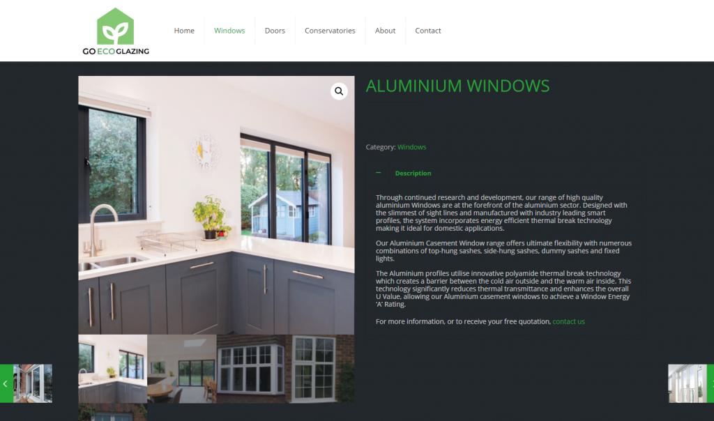 Go Eco Glazing Aluminium windows page screenshot