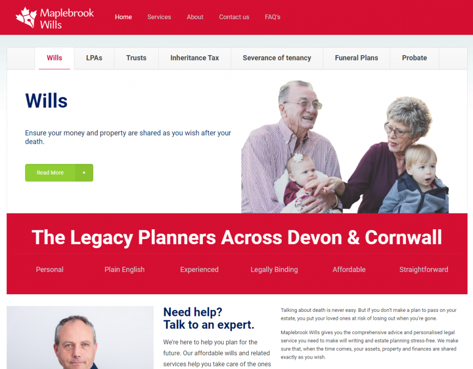 Maplebrook Wills SW Home page designed by Love Local Media