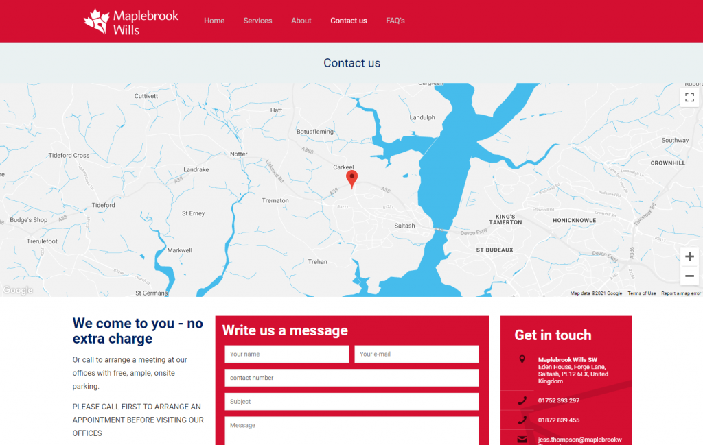Maplebrook Wills SW Contact page