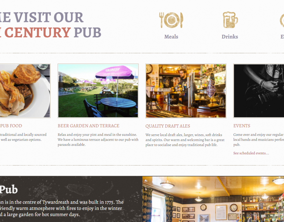 The New Inn Home page designed by Love Local Media