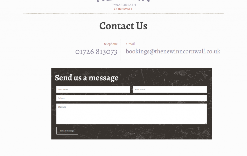 The New Inn - contact page