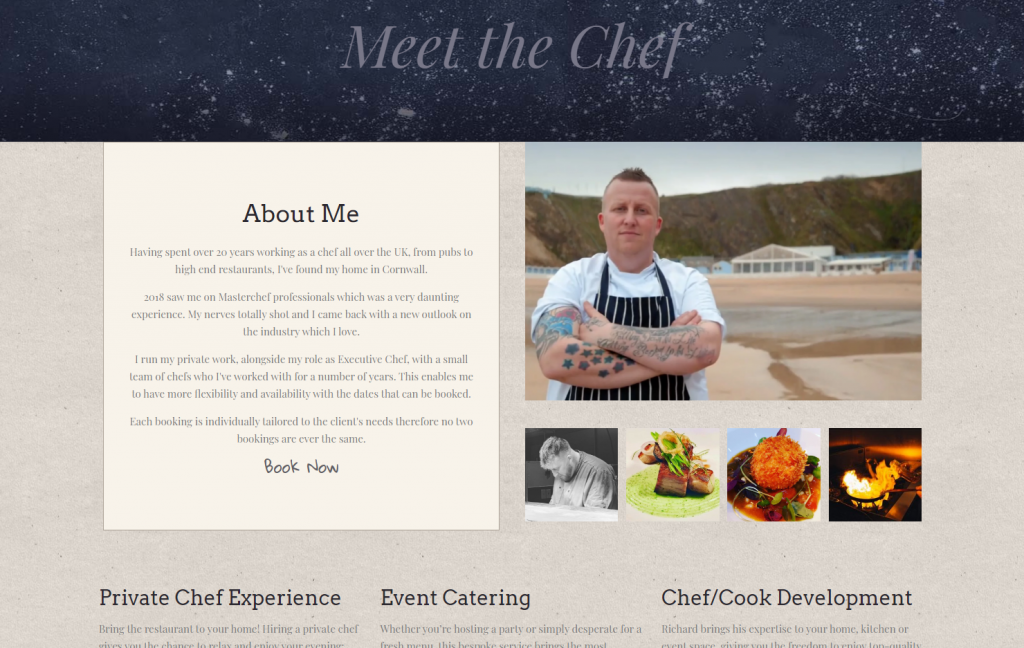 The Pickled Chef About page designed by Love Local Media